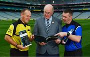 16 October 2018;  In attendance during the Referee Development Plan Launch is Uachtarán Chumann Lúthchleas Gael John Horan, with referees Conor Lane, from Cork left, and James Owens, from Wexford, at Croke Park in Dublin. Photo by Sam Barnes/Sportsfile