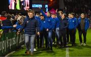 12 October 2018; The Leinster U19 team at half-time during the Heineken Champions Cup Pool 1 Round 1 match between Leinster and Wasps at the RDS Arena in Dublin. Photo by Brendan Moran/Sportsfile