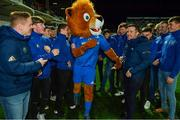 12 October 2018; The Leinster U19 team with Leo the Lion at half-time during the Heineken Champions Cup Pool 1 Round 1 match between Leinster and Wasps at the RDS Arena in Dublin. Photo by Brendan Moran/Sportsfile
