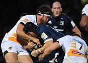 12 October 2018; Seán O'Brien of Leinster is tackled by Ben Harris and Thomas Young of Wasps during the Heineken Champions Cup Pool 1 Round 1 match between Leinster and Wasps at the RDS Arena in Dublin. Photo by Brendan Moran/Sportsfile