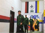 16 October 2018; Troy Parrott of Republic of Ireland arrives prior to the 2018/19 UEFA Under-19 European Championships Qualifying Round match between Republic of Ireland and Netherlands at City Calling Stadium, in Lissanurlan, Co. Longford. Photo by Harry Murphy/Sportsfile