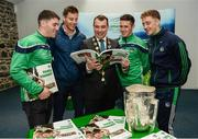 16 October 2018; James Collins, Mayor of the City and County of Limerick, along with Limerick hurlers Sean Finn, Dan Morrissey, Darragh O'Donovan, and Pat Ryan during the launch of the Limerick celebration book 'Treaty Triumph', a stunning photographic memoir, with words by Damian Lawlor, that paints a vivid picture of Limerick's magical odyssey to the hurling summit. Limerick City and County Council supports the book in aid of Limerick GAA to keep price at just €19.95. Limerick City and County Council, Merchants Quay, Limerick. Photo by Diarmuid Greene/Sportsfile