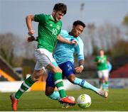 16 October 2018; Troy Parrott of Republic of Ireland is tackled by Juan Familio-Castillo of Netherlands during the 2018/19 UEFA Under-19 European Championships Qualifying Round match between Republic of Ireland and Netherlands at City Calling Stadium, in Lissanurlan, Co. Longford. Photo by Harry Murphy/Sportsfile