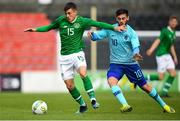 16 October 2018; Jason Knight of Republic of Ireland in action against Orkun Kokcu of Netherlands during the 2018/19 UEFA Under-19 European Championships Qualifying Round match between Republic of Ireland and Netherlands at City Calling Stadium, in Lissanurlan, Co. Longford. Photo by Harry Murphy/Sportsfile