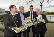 16 October 2018; James Collins, Mayor of the City and County of Limerick, Limerick manager John Kiely, captain Declan Hannon, and Ray McManus of Sportsfile, during the launch of the Limerick celebration book 'Treaty Triumph', a stunning photographic memoir, with words by Damian Lawlor, that paints a vivid picture of Limerick's magical odyssey to the hurling summit. Limerick City and County Council supports the book in aid of Limerick GAA to keep price at just €19.95. Limerick City and County Council, Merchants Quay, Limerick. Photo by Diarmuid Greene/Sportsfile