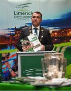 16 October 2018; James Collins, Mayor of the City and County of Limerick, during the launch of the Limerick celebration book 'Treaty Triumph', a stunning photographic memoir, with words by Damian Lawlor, that paints a vivid picture of Limerick's magical odyssey to the hurling summit. Limerick City and County Council supports the book in aid of Limerick GAA to keep price at just €19.95. Limerick City and County Council, Merchants Quay, Limerick. Photo by Diarmuid Greene/Sportsfile