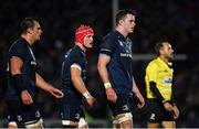 12 October 2018; James Ryan of Leinster, with team-mates Rhys Ruddock and Josh van der Flier, during the Heineken Champions Cup Pool 1 Round 1 match between Leinster and Wasps at the RDS Arena in Dublin. Photo by Brendan Moran/Sportsfile