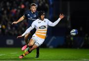 12 October 2018; Juan de Jongh of Wasps in action against Jordan Larmour of Leinster during the Heineken Champions Cup Pool 1 Round 1 match between Leinster and Wasps at the RDS Arena in Dublin. Photo by Brendan Moran/Sportsfile