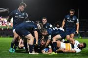 12 October 2018; Jack McGrath of Leinster celebrates after scoring his side's eighth try during the Heineken Champions Cup Pool 1 Round 1 match between Leinster and Wasps at the RDS Arena in Dublin. Photo by Brendan Moran/Sportsfile