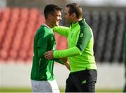 16 October 2018; Jason Knight of Republic of Ireland celebrates with manager Tom Mohan following the 2018/19 UEFA Under-19 European Championships Qualifying Round match between Republic of Ireland and Netherlands at City Calling Stadium, in Lissanurlan, Co. Longford. Photo by Harry Murphy/Sportsfile