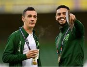 16 October 2018; Shaun Williams, left, and Derrick Williams of Republic of Ireland prior to the UEFA Nations League B group four match between Republic of Ireland and Wales at the Aviva Stadium in Dublin. Photo by Seb Daly/Sportsfile