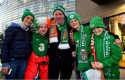 16 October 2018; Republic of Ireland supporters, from left, Emma Walsh, Sarah Byrne, Dave Walsh, Ben Walsh and Evan Walsh, all from Swords and Skerries, Dublin, prior to the UEFA Nations League B group four match between Republic of Ireland and Wales at the Aviva Stadium in Dublin. Photo by Brendan Moran/Sportsfile