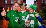 16 October 2018; Republic of Ireland supporters, from left, Lennon Conroy, Jack Carroll and Shay Conroy, from Clonaslee, Co. Laois, prior to the UEFA Nations League B group four match between Republic of Ireland and Wales at the Aviva Stadium in Dublin. Photo by Brendan Moran/Sportsfile