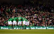 16 October 2018; The Republic of Ireland team huddle prior to the UEFA Nations League B group four match between Republic of Ireland and Wales at the Aviva Stadium in Dublin. Photo by Seb Daly/Sportsfile