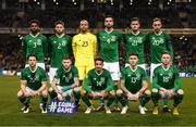16 October 2018; The Republic of Ireland team, back row, from left to right, Cyrus Christie, Matt Doherty, Darren Randolph, Shane Duffy, Kevin Long and Richard Keogh. Front row, from left to right, Harry Arter, James McClean, Callum Robinson, Jeff Hendrick and Aiden O'Brien prior to the UEFA Nations League B group four match between Republic of Ireland and Wales at the Aviva Stadium in Dublin. Photo by Stephen McCarthy/Sportsfile