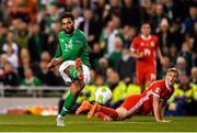 16 October 2018; Cyrus Christie of Republic of Ireland has a shot on goal during the UEFA Nations League B group four match between Republic of Ireland and Wales at the Aviva Stadium in Dublin. Photo by Seb Daly/Sportsfile