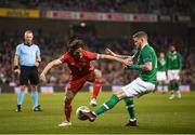 16 October 2018; James McClean of Republic of Ireland in action against Joe Allen of Wales during the UEFA Nations League B group four match between Republic of Ireland and Wales at the Aviva Stadium in Dublin. Photo by Stephen McCarthy/Sportsfile
