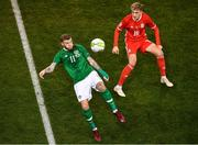 16 October 2018; James McClean of Republic of Ireland in action against David Brooks of Wales during the UEFA Nations League B group four match between Republic of Ireland and Wales at the Aviva Stadium in Dublin. Photo by Ramsey Cardy/Sportsfile