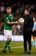 16 October 2018; Wales manager Ryan Giggs gives the sideline ball to James McClean of Republic of Ireland during the UEFA Nations League B group four match between Republic of Ireland and Wales at the Aviva Stadium in Dublin. Photo by Stephen McCarthy/Sportsfile