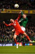 16 October 2018; Harry Wilson of Wales in action against James McClean of Republic of Ireland during the UEFA Nations League B group four match between Republic of Ireland and Wales at the Aviva Stadium in Dublin. Photo by Stephen McCarthy/Sportsfile