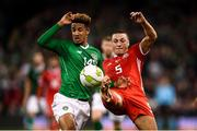 16 October 2018; Callum Robinson of Republic of Ireland in action against James Chester of Wales during the UEFA Nations League B group four match between Republic of Ireland and Wales at the Aviva Stadium in Dublin. Photo by Stephen McCarthy/Sportsfile