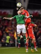 16 October 2018; James McClean of Republic of Ireland in action against Tyler Roberts of Wales during the UEFA Nations League B group four match between Republic of Ireland and Wales at the Aviva Stadium in Dublin. Photo by Brendan Moran/Sportsfile
