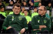 16 October 2018; Republic of Ireland manager Martin O'Neill, right, and assistant manager Roy Keane prior to the UEFA Nations League B group four match between Republic of Ireland and Wales at the Aviva Stadium in Dublin. Photo by Harry Murphy/Sportsfile