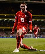 16 October 2018; Harry Wilson of Wales celebrates after scoring his side's first goal during the UEFA Nations League B group four match between Republic of Ireland and Wales at the Aviva Stadium in Dublin. Photo by Harry Murphy/Sportsfile