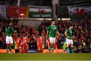 16 October 2018; Republic of Ireland players, from left, Callum Robinson, Shane Long and Kevin Long react after Harry Wilson of Wales scored his side's first goal during the UEFA Nations League B group four match between Republic of Ireland and Wales at the Aviva Stadium in Dublin. Photo by Stephen McCarthy/Sportsfile