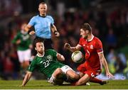 16 October 2018; Harry Arter of Republic of Ireland in action against Ben Davies of Wales during the UEFA Nations League B group four match between Republic of Ireland and Wales at the Aviva Stadium in Dublin. Photo by Stephen McCarthy/Sportsfile