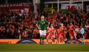 16 October 2018; James McClean of Republic of Ireland reacts after his side conceeded their first goal during the UEFA Nations League B group four match between Republic of Ireland and Wales at the Aviva Stadium in Dublin. Photo by Seb Daly/Sportsfile