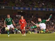 16 October 2018; James McClean of Republic of Ireland takes a shot during the UEFA Nations League B group four match between Republic of Ireland and Wales at the Aviva Stadium in Dublin. Photo by Seb Daly/Sportsfile