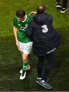 16 October 2018; Harry Arter of Republic of Ireland and Republic of Ireland assistant manager Roy Keane following their defeat in the UEFA Nations League B group four match between Republic of Ireland and Wales at the Aviva Stadium in Dublin. Photo by Ramsey Cardy/Sportsfile