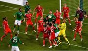 16 October 2018; Players from both teams battle for possession from a corner kick in the final minute of the UEFA Nations League B group four match between Republic of Ireland and Wales at the Aviva Stadium in Dublin. Photo by Ramsey Cardy/Sportsfile