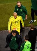 16 October 2018; Republic of Ireland assistant manager Roy Keane, Darren Randolph of Republic of Ireland, centre, and Republic of Ireland manager Martin O'Neill, top, following the UEFA Nations League B group four match between Republic of Ireland and Wales at the Aviva Stadium in Dublin. Photo by Ramsey Cardy/Sportsfile