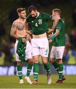 16 October 2018; Shane Duffy, right, Jeff Hendrick. left, and James McClean of Republic of Ireland react following their side's defeat during the UEFA Nations League B group four match between Republic of Ireland and Wales at the Aviva Stadium in Dublin. Photo by Stephen McCarthy/Sportsfile