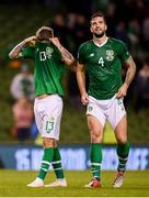 16 October 2018; Jeff Hendrick, left, and Shane Duffy of Republic of Ireland following the UEFA Nations League B group four match between Republic of Ireland and Wales at the Aviva Stadium in Dublin. Photo by Stephen McCarthy/Sportsfile