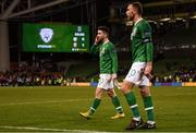 16 October 2018; Sean Maguire of Republic of Ireland leaves the pitch following the UEFA Nations League B group four match between Republic of Ireland and Wales at the Aviva Stadium in Dublin. Photo by Stephen McCarthy/Sportsfile