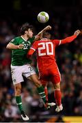 16 October 2018; Harry Arter of Republic of Ireland in action against Joe Rodon of Wales during the UEFA Nations League B group four match between Republic of Ireland and Wales at the Aviva Stadium in Dublin. Photo by Brendan Moran/Sportsfile