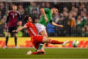16 October 2018; Shane Long of Republic of Ireland in action against Joe Allen of Wales during the UEFA Nations League B group four match between Republic of Ireland and Wales at the Aviva Stadium in Dublin. Photo by Brendan Moran/Sportsfile