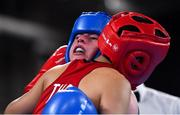 16 October 2018; Dearbhla Rooney, right, of Team Ireland, from Manorhamilton, Leitrim, in action against Panpatchara Somnuek of Thailand during the women's flyweight, semi-final, event in the Youth Olympic Park on Day 10 of the Youth Olympic Games in Buenos Aires, Argentina. Photo by Eóin Noonan/Sportsfile