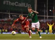 16 October 2018; Jeff Hendrick of Republic of Ireland in action against George Thomas of Wales during the UEFA Nations League B group four match between Republic of Ireland and Wales at the Aviva Stadium in Dublin. Photo by Seb Daly/Sportsfile