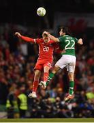 16 October 2018; George Thomas of Wales in action against Harry Arter of Republic of Ireland during the UEFA Nations League B group four match between Republic of Ireland and Wales at the Aviva Stadium in Dublin. Photo by Seb Daly/Sportsfile