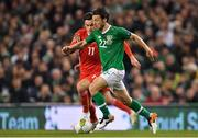 16 October 2018; Harry Arter of Republic of Ireland in action against Tom Lawrence of Wales during the UEFA Nations League B group four match between Republic of Ireland and Wales at the Aviva Stadium in Dublin. Photo by Brendan Moran/Sportsfile