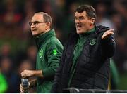 16 October 2018; Republic of Ireland assistant manager Roy Keane, right, with manager Martin O'Neill during the UEFA Nations League B group four match between Republic of Ireland and Wales at the Aviva Stadium in Dublin. Photo by Brendan Moran/Sportsfile