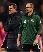 16 October 2018; Republic of Ireland manager Martin O'Neill, right, with assistant manager Roy Keane during the UEFA Nations League B group four match between Republic of Ireland and Wales at the Aviva Stadium in Dublin. Photo by Brendan Moran/Sportsfile