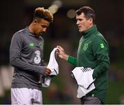 16 October 2018; Republic of Ireland assistant manager Roy Keane and Callum Robinson prior to the UEFA Nations League B group four match between Republic of Ireland and Wales at the Aviva Stadium in Dublin. Photo by Stephen McCarthy/Sportsfile