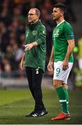 16 October 2018; Republic of Ireland manager Martin O'Neill, right, with Shane Long during the UEFA Nations League B group four match between Republic of Ireland and Wales at the Aviva Stadium in Dublin. Photo by Brendan Moran/Sportsfile