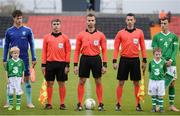 16 October 2018; Mascots Dylan Walsh and Donnacha Nolan with Netherlands Captain Kik Pierie, Republic of Ireland captiain Lee O'Connor and match officials prior to  the 2018/19 UEFA Under-19 European Championships Qualifying Round match between Republic of Ireland and Netherlands at City Calling Stadium, in Lissanurlan, Co. Longford. Photo by Harry Murphy/Sportsfile
