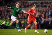 16 October 2018; Jeff Hendrick of Republic of Ireland in action against Joe Rodon of Wales during the UEFA Nations League B group four match between Republic of Ireland and Wales at the Aviva Stadium in Dublin. Photo by Harry Murphy/Sportsfile